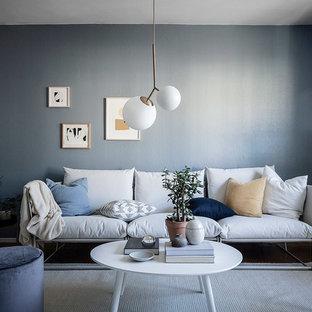 Idéer för ett mellanstort nordiskt separat vardagsrum, med grå väggar