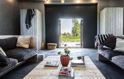 Houzz Tour: Enkelheten visar vägen i det gamla lokstallet på Gotland