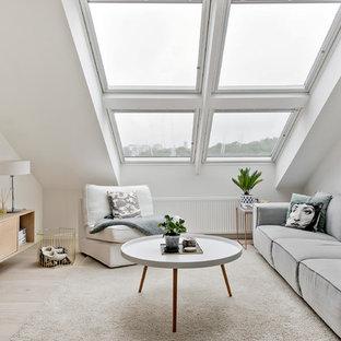 Bild på ett mellanstort minimalistiskt separat vardagsrum, med vita väggar