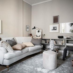 Idéer för att renovera ett litet minimalistiskt separat vardagsrum, med beige väggar