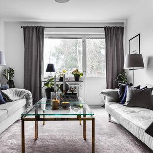 Idéer för mellanstora nordiska separata vardagsrum, med ett finrum, vita väggar och grått golv