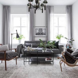 Foto på ett mellanstort minimalistiskt separat vardagsrum, med ett finrum, vita väggar, målat trägolv och vitt golv