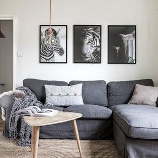 Inredning av ett skandinaviskt litet vardagsrum, med vita väggar, ljust trägolv och beiget golv