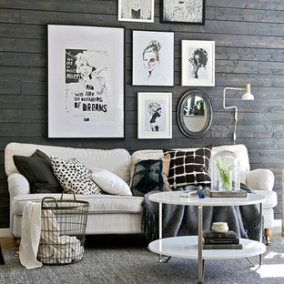 Design ideas for a scandinavian formal open plan living room in Gothenburg with light hardwood flooring and brown walls.