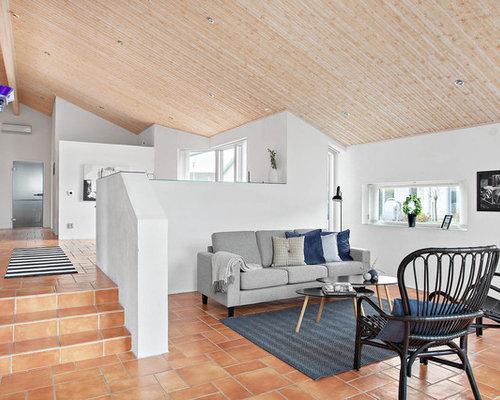 salon avec un sol en carreau de terre cuite su de photos et id es d co de salons. Black Bedroom Furniture Sets. Home Design Ideas