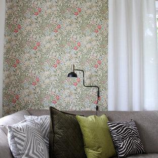 Idéer för mellanstora nordiska separata vardagsrum, med gröna väggar