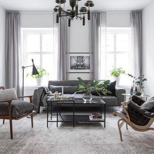 Idéer för ett mellanstort skandinaviskt vardagsrum, med vita väggar, målat trägolv och vitt golv