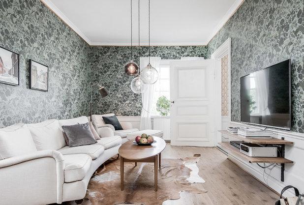 Transitional Living Room by #bergmansmäklarbyrå AB
