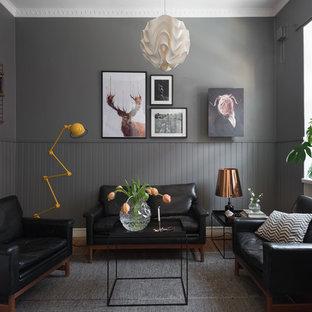 Idéer för mellanstora skandinaviska separata vardagsrum, med grå väggar och en hemmabar