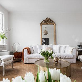 Idéer för att renovera ett stort minimalistiskt allrum med öppen planlösning, med vita väggar, mellanmörkt trägolv, en öppen vedspis och en spiselkrans i sten