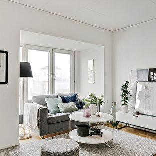 Inspiration för små skandinaviska vardagsrum, med vita väggar och mellanmörkt trägolv