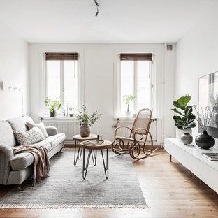 Idéer för mellanstora nordiska vardagsrum, med vita väggar och mellanmörkt trägolv