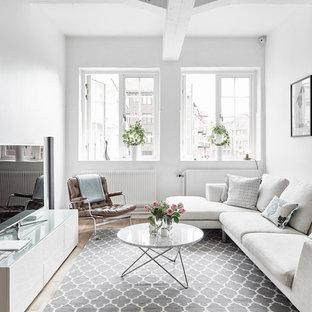 Ejemplo de salón para visitas cerrado, nórdico, de tamaño medio, sin chimenea, con paredes blancas, suelo de madera clara y televisor independiente
