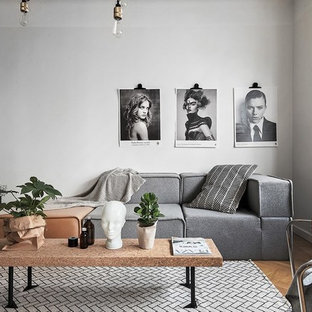 Inspiration for a large scandi formal open plan living room in Stockholm with white walls, medium hardwood flooring and no fireplace.