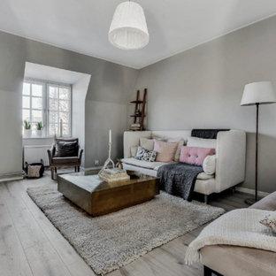 Idéer för skandinaviska vardagsrum, med grå väggar, mellanmörkt trägolv, en fristående TV och grått golv