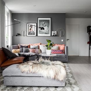 Idéer för mellanstora skandinaviska separata vardagsrum, med ett finrum, grå väggar och marmorgolv