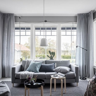 This is an example of a scandinavian living room in Other with grey walls, painted wood flooring and no fireplace.