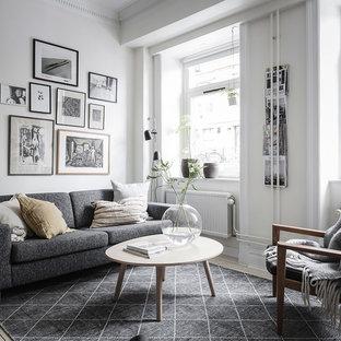 Inspiration för mellanstora nordiska separata vardagsrum, med vita väggar, ett finrum och beiget golv