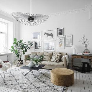 Idéer för nordiska vardagsrum, med ett finrum, vita väggar, målat trägolv och vitt golv