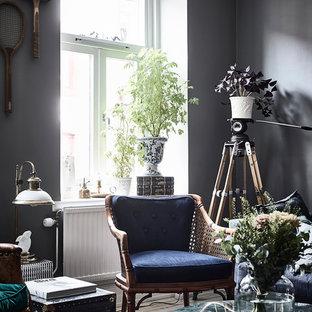 Idéer för att renovera ett minimalistiskt vardagsrum, med ett finrum och grå väggar