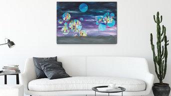 Moons of Saturn, 70 x 100 cm