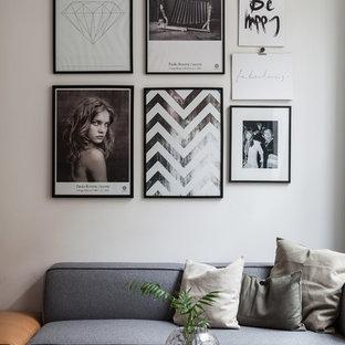 Diseño de salón para visitas abierto, escandinavo, sin chimenea, con paredes blancas
