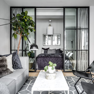 Mittelgroßes, Repräsentatives, Fernseherloses Nordisches Wohnzimmer ohne Kamin mit grauer Wandfarbe und hellem Holzboden in Stockholm