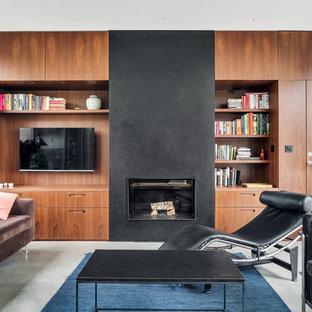 Bild på ett funkis vardagsrum, med bruna väggar, heltäckningsmatta, en standard öppen spis, en inbyggd mediavägg och grått golv