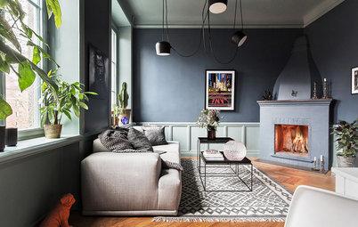 Shades of Grey: 9 Tipps für dunkle Wände im Wohnzimmer