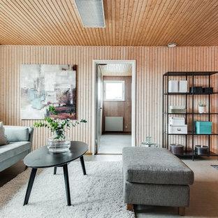 Inspiration för ett mellanstort nordiskt separat vardagsrum, med mellanmörkt trägolv och beiget golv