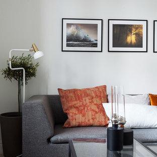 Esempio di un soggiorno moderno di medie dimensioni e chiuso con pareti bianche, moquette, sala formale, nessun camino e nessuna TV