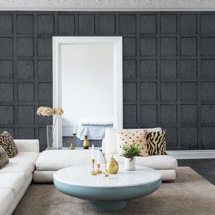 Bild på ett funkis separat vardagsrum, med grå väggar, svart golv, ett finrum och mörkt trägolv