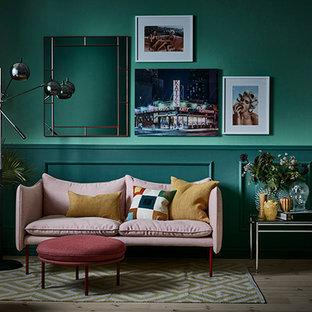 Immagine di un soggiorno bohémian