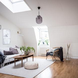 Inspiration för skandinaviska separata vardagsrum, med ett finrum, vita väggar, mellanmörkt trägolv och brunt golv