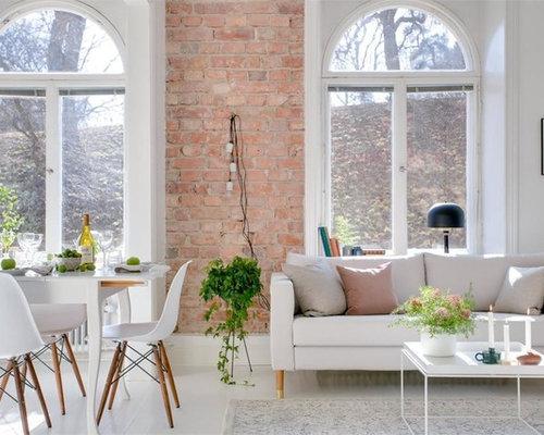 Foton och inredningsidéer för skandinaviska vardagsrum, med rosa ...