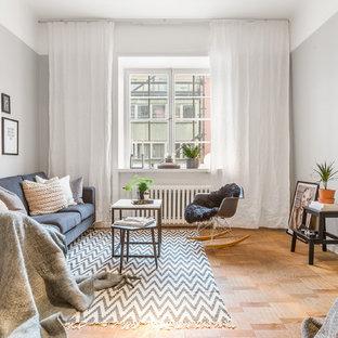 Exempel på ett mellanstort skandinaviskt separat vardagsrum, med grå väggar, mellanmörkt trägolv och ett finrum
