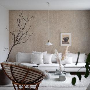Inspiration för skandinaviska vardagsrum, med beige väggar, ljust trägolv och beiget golv