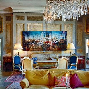 Foto di un ampio soggiorno chic aperto con sala formale, pareti grigie, nessun camino e nessuna TV