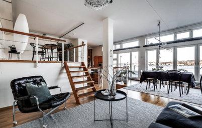 Houzz Швеция: Квартира в здании бывшей фабрики с видом на залив