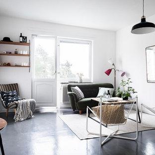 Inspiration för minimalistiska vardagsrum, med vita väggar och linoleumgolv