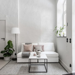 Idéer för små skandinaviska allrum med öppen planlösning, med vita väggar