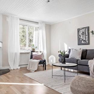 Modelo de salón cerrado, nórdico, de tamaño medio, con paredes beige, suelo de madera clara, chimenea de esquina, marco de chimenea de piedra y suelo beige