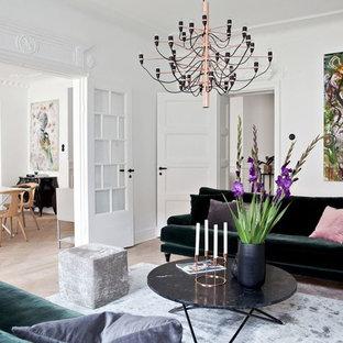 Exempel på ett skandinaviskt separat vardagsrum, med vita väggar och beiget golv
