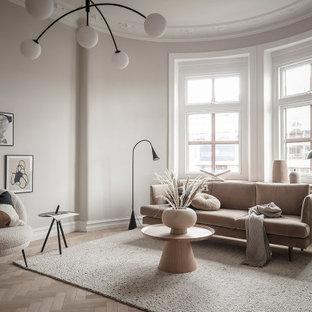 Skandinavisk inredning av ett vardagsrum