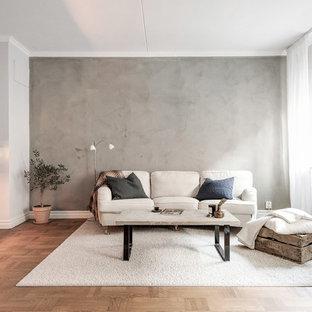 Exempel på ett mellanstort minimalistiskt vardagsrum, med grå väggar, mellanmörkt trägolv, en standard öppen spis, en spiselkrans i betong och brunt golv