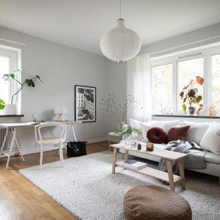 Idéer för nordiska vardagsrum, med grå väggar, mellanmörkt trägolv och brunt golv