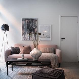 ヨーテボリの小さい北欧スタイルのおしゃれな独立型リビング (白い壁、コンクリートの床、グレーの床) の写真