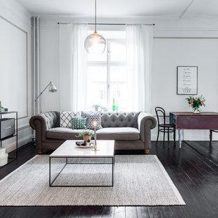 Ejemplo de salón para visitas abierto, nórdico, grande, sin chimenea y televisor, con paredes blancas