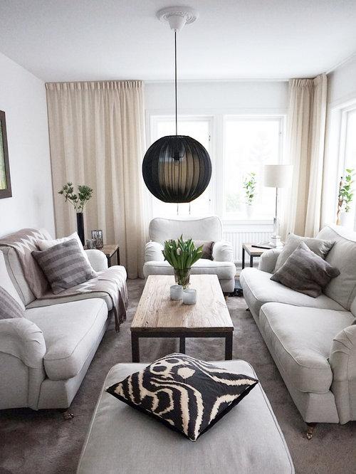 photos et id es d co de pi ces vivre scandinaves avec un sol en moquette. Black Bedroom Furniture Sets. Home Design Ideas