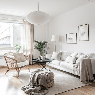 mid sized danish enclosed and formal beige floor and light wood floor living room photo - Scandinavian Living Room